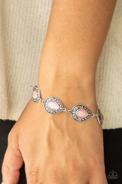 Enchantingly Ever After - Silver with Pink Moonstone Gems Bracelet