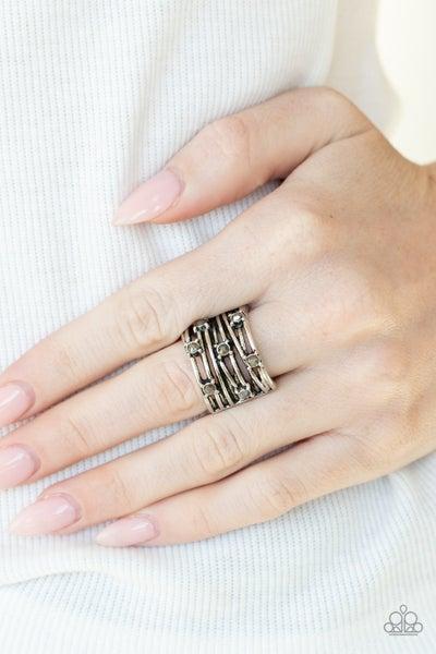 Pre-Order Revved Up Radiance - Studded Silver with Hematite adjustible Ring