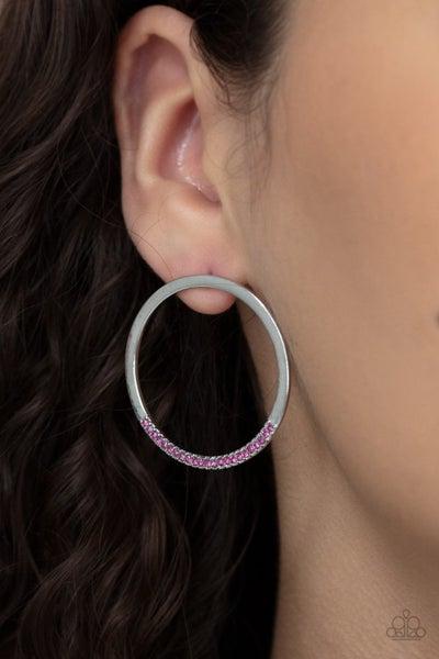 Pre-Sale Spot On Opulence - Silver Hoops dipped in Pink rhinestones Earrings