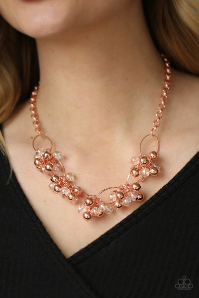 Pre-Order Effervescent Ensemble - Copper with Iridescent & Copper Beads Necklace & Earrings