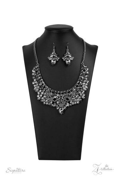 The Tina - Gunmetal with Smoky & Hematite Rhinestones Necklace - 2020 Zi Collection