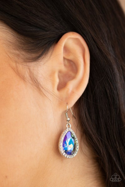 Dripping With Drama - Silver with Multi Iridescent Oil Spill Teardrop Rhinestone Earrings