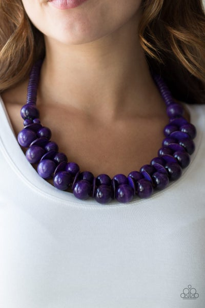 Caribbean Cover Girl - Two rows of Purple Wooden Beads Necklace & Matching Earrings