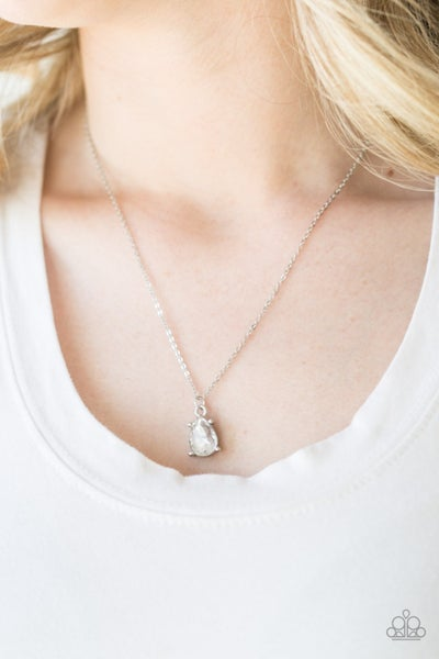 Pre-Sale Classy Classicist - Silver with teardrop white Rhinestone Necklace & Earrings