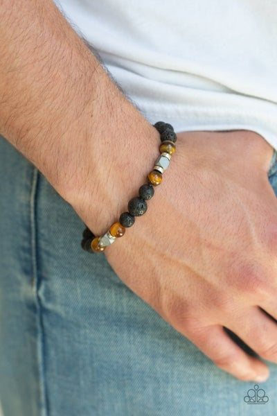 Strength - Brown Cat's Eye Stones with Lava Beads Bracelet