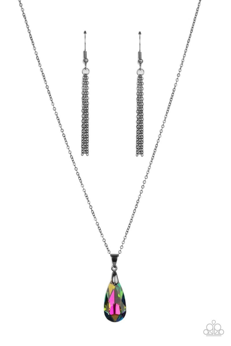 Optimized Opulence, Moved to TIERS & Regal Remix - Oil Spill Necklace, Earrings (upgraded) Earrings & Coil Bracelet 3 piece Set