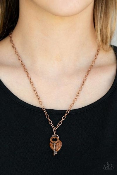 Pop and LOCKET - Copper with Heart & Key with Topaz Rhinestones Necklace & Earrings