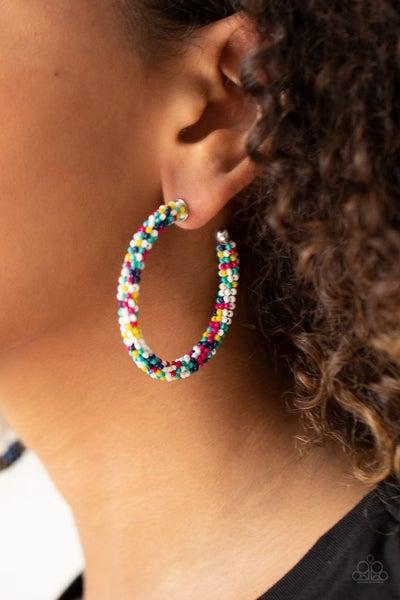 Bead My Lips! - Multi-colored Seed Bead Hoop Earrings