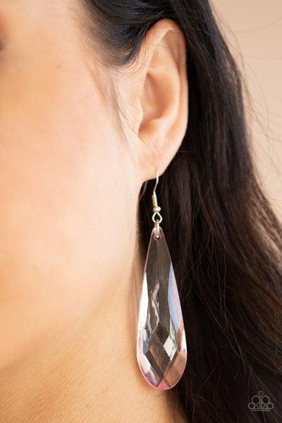 Pre-Order Crystal Crowns - Pink Teardrop Crystal Earring
