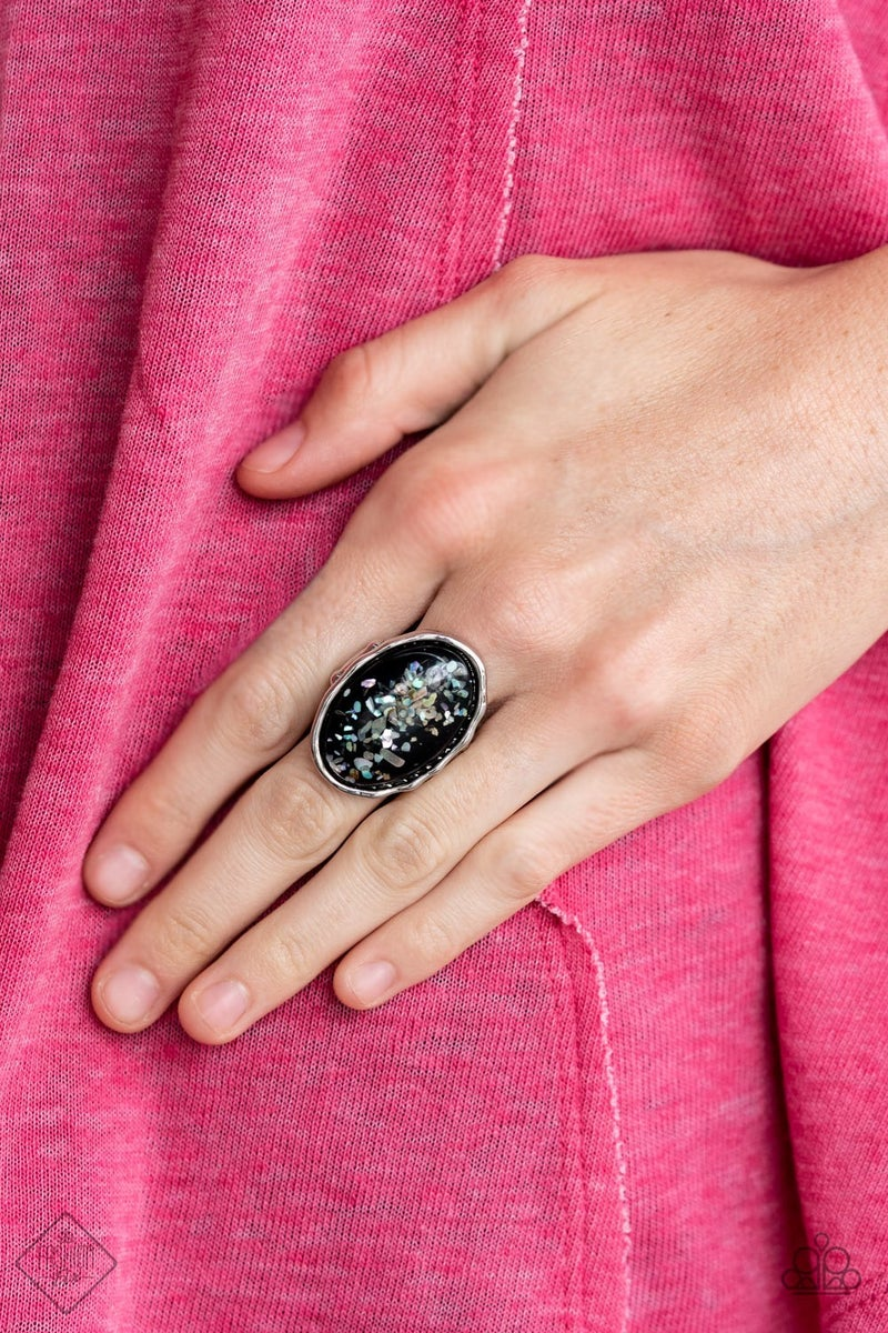 Glittery With Envy - Silver with Iridescent Black shell-like Bead Ring