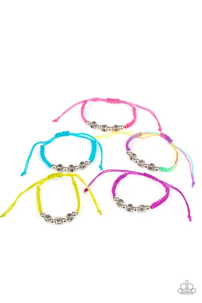 Assorted Color with antique floral accent corded slip knot/pull-tight Bracelets