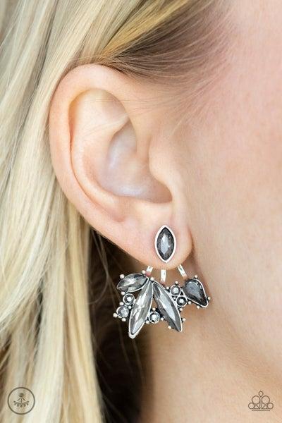 Deco Dynamite - Silver Jacket style (Ear Hugger) with Hematite Earrings
