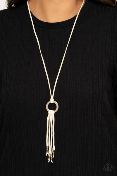 Feel at HOMESPUN - White Suede Tassel Pull Tight Necklace & Earrings
