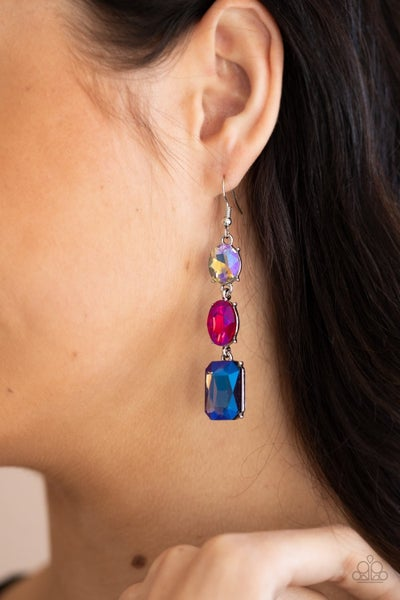 Dripping in Melodrama - Multi Iridescent Gems Earrings