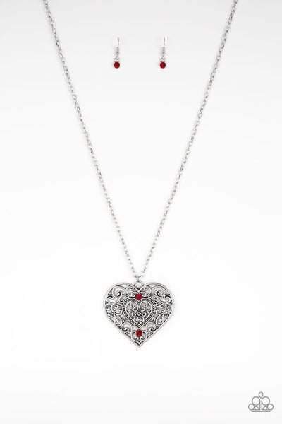 Classic Casanova - Large Silver Filigree Heart with Red Rhinestones Necklace & Earrings