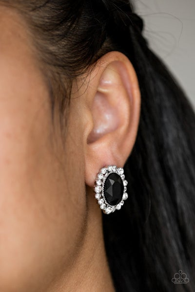 Hold Court - Silver with Black Oval Rhinestones surrounded by white rhinestones Earrings