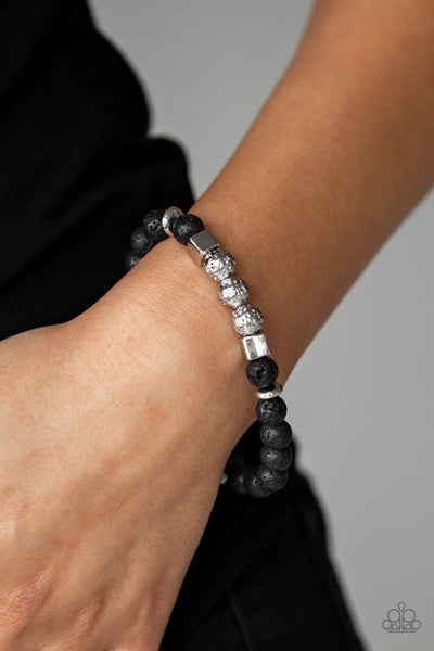 Sensei And Sensibility-Black Lava Beads with Silver Cubes & Beads Bracelet