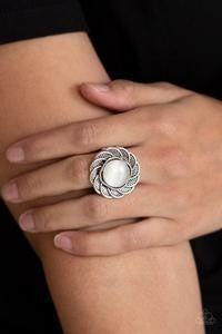 Gardenia Glow - Silver with White Moonstone Center Ring