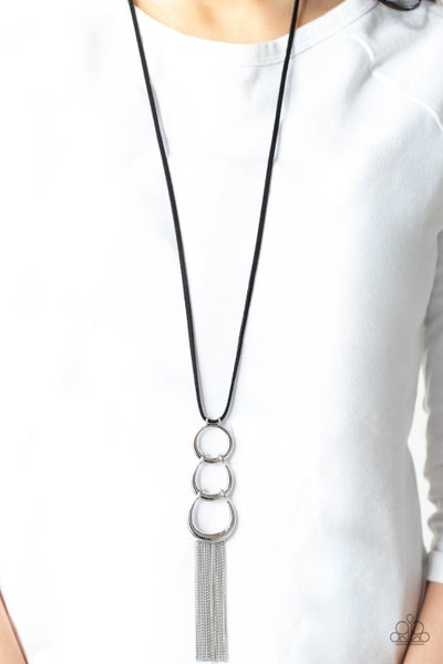 Industrial Conquest - Black Suede with interlocking half moon frames with silver tassels Necklace & Earrings