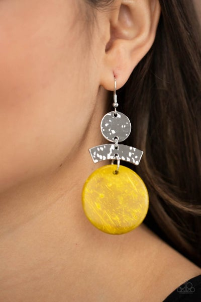 Diva Of My Domain - Silver with Yellow Wooden Disc Earrings
