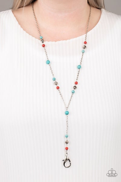 Pre-Sale - Sandstone Savannahs - Silver with Turquoise & Red Lanyard Necklace