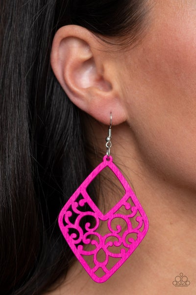 VINE For The Taking - Pink Wood Earrings