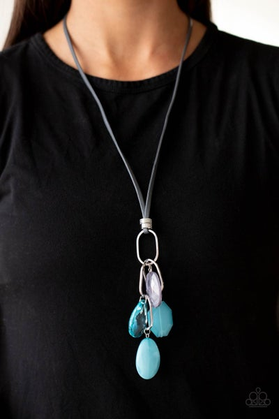 Fundamentally Flirtatious - Turquoise oval links & Gray Beads Tassel on a Gray Leather Cord Necklace & Earrings