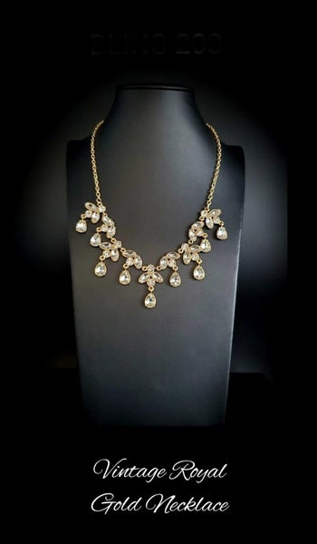 Vintage Royale - Gold with White Rhinestones Necklace & Earrings -  March 2021 Life of the Party