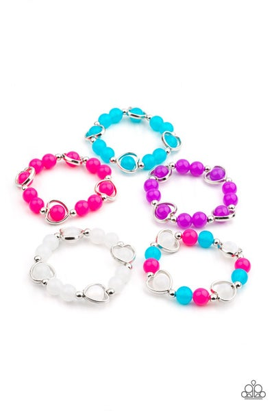 Pre-Sale - Assorted Colors with Heart - Shaped Beads Kid's Stretch Bracelet Kit