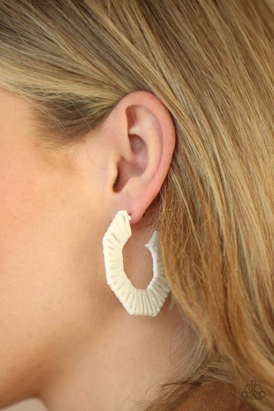 Pre-Sale Fabulously Fiesta - White wicker-like cordage Hoop Earrings