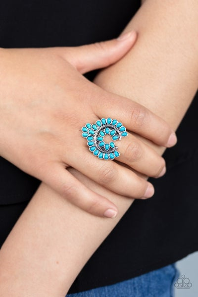Trendy Talisman - Silver with Turquoise Stones framed in a Lucky Horse Shoe shape Ring