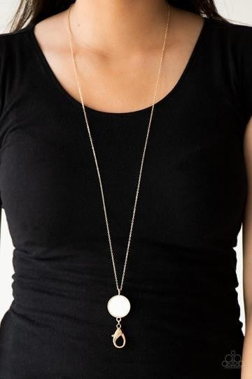 Shimmering Seashores - Gold Lanyard with Mother of Pearl Shell Pendant