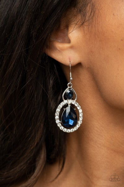 Double The Drama - Silver with Blue Teardrop Rhinestone surrounded by white rhinestones Earrings