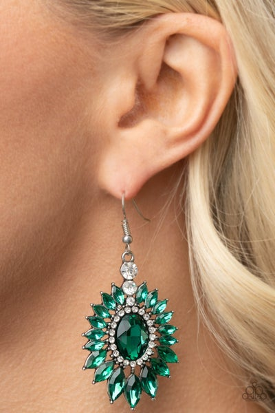 Big Time Twinkle - Silver with Green Rhinestones dramatic Earrings