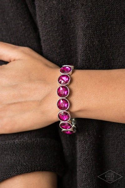 Number One Knockout - Silver with round hot Pink rhinestones Stretch Bracelet