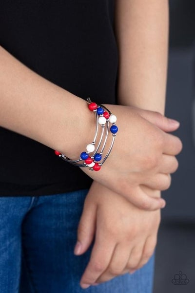 Blooming Buttercups - Red, White & Blue Beaded Stretch Bracelets