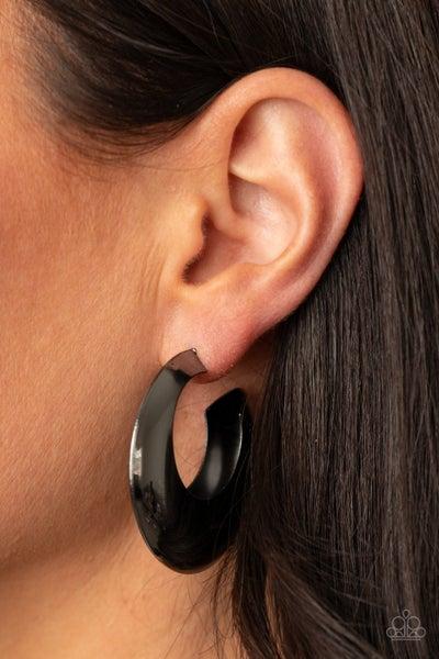Chic CRESCENTO - Gunmetal Crescent Hoop Earrings