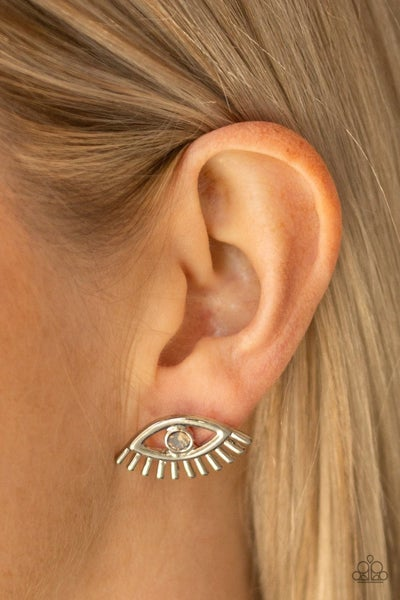 Dont Blink -Silver Eye-Shaped with Iridescent Gem Earrings