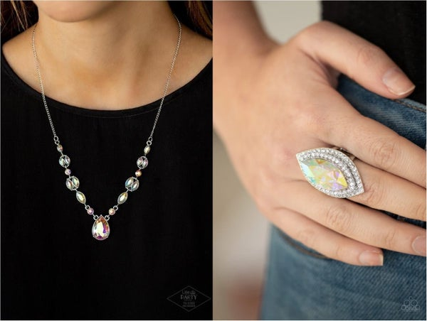 Royal Rendezvous & Jaw Dropping Dazzle - Silver with Iridescent Rhinestones - Necklace & Ring Set