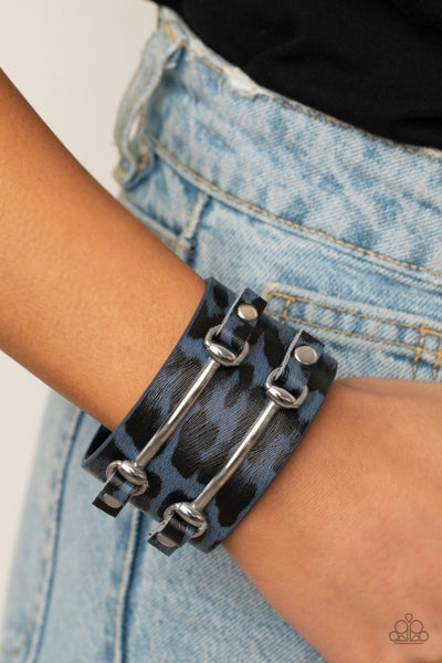 Pre-Sale Safari Scene - Blue Cheetal Print Leather with Silver Accents Snap Bracelet