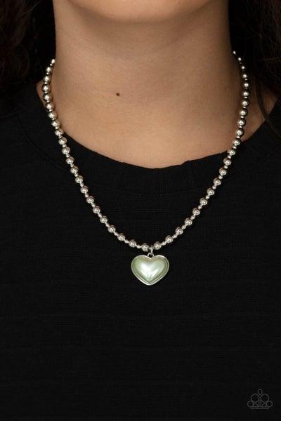 Heart Full of Fancy - Pearly Green Heart on a Silver chain Necklace & Earrings