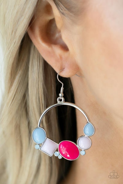 Beautifully Bubblicious - Opalescent Multi - White, Blue & Pink Beads Earrings