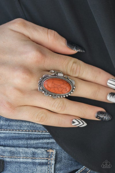 Pre-Sale Open Range - Silver with Orange Crackle Stone Ring