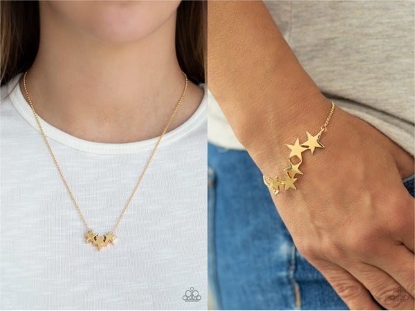 Shoot For The Stars & All-Star Shimmer - Gold with Gold Stars Necklace, Earrings & Bracelet Set