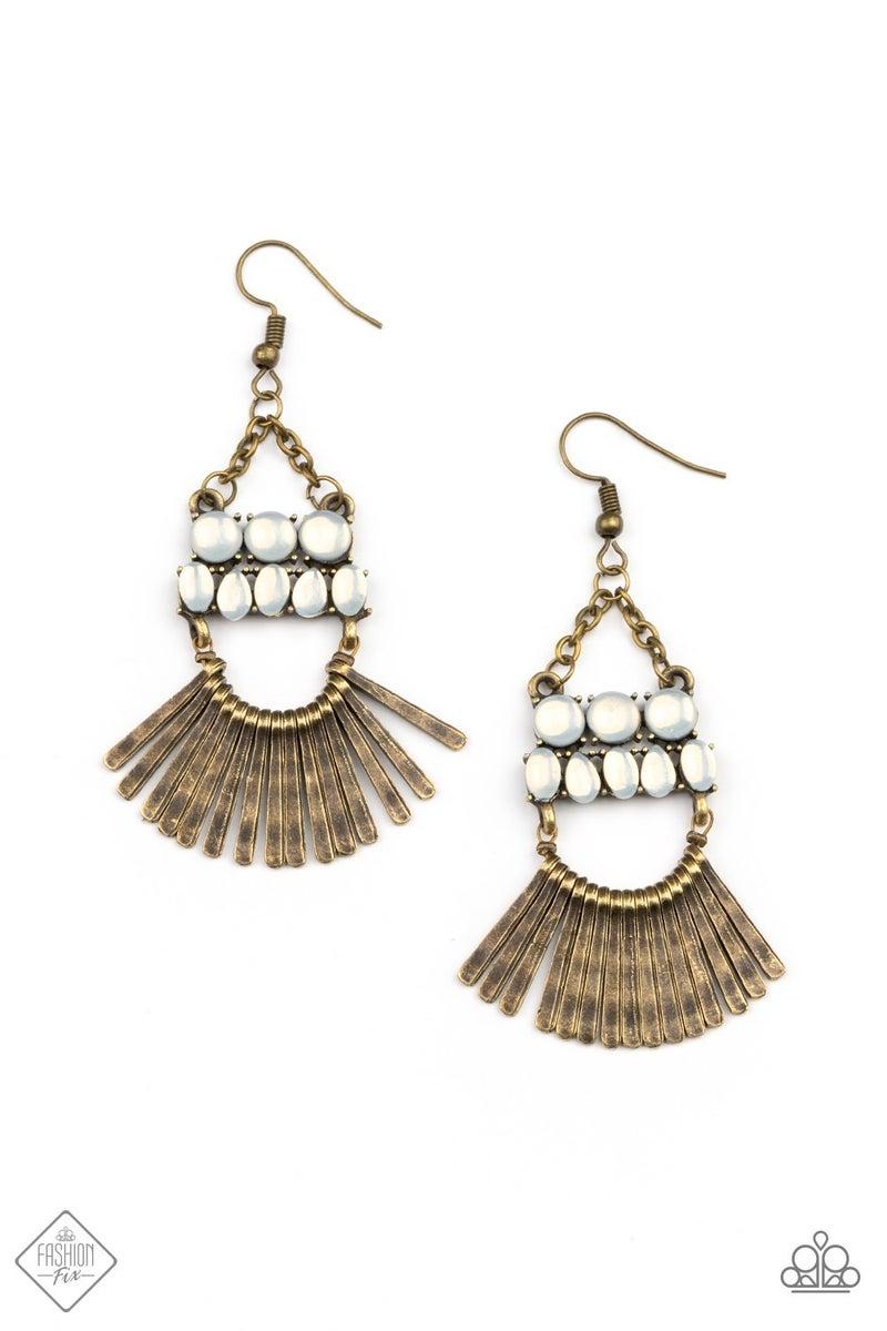 Pre-Order FLARE For Fierceness - Brass with White Opals Earrings