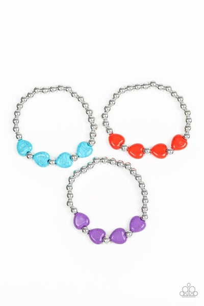 Silver with 3 Crackle Stone Hearts Stretch Bracelets - Multiple Colors