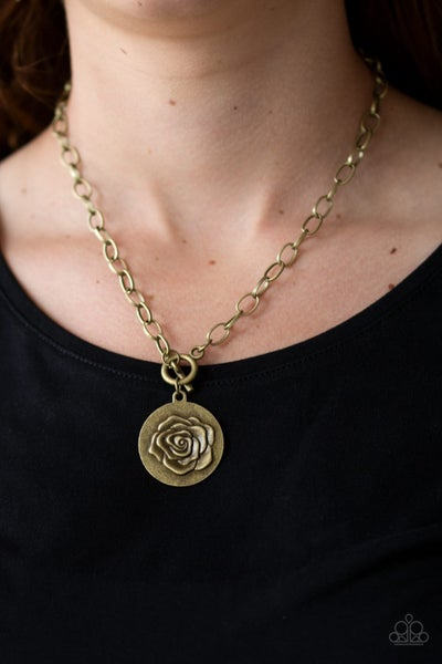 Pre-Sale Beautifully Belle - Brass with Embossed Rose on a Toggle Lock Necklace & Earrings