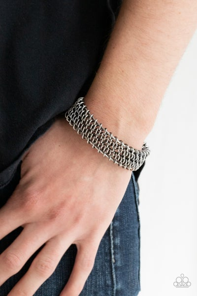 Gridlock - Silver coiled spring Cuff Bracelet