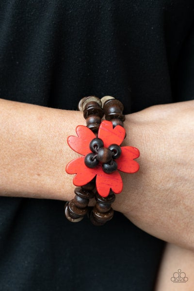 Tropical Flavor - Brown wood with Red heart-shaped petals forming a Flower center Stretch Bracelet