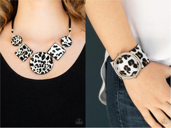 Here Kitty Kitty &  Asking FUR trouble - White Cheetah Print Necklace & Braclet Set